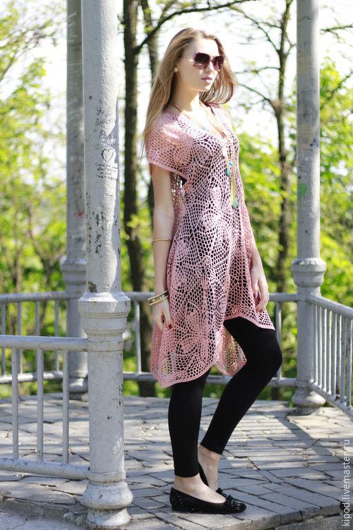 """Платья ручной работы. Ярмарка Мастеров - ручная работа. Купить """"Нежность"""" бохо - асимметрия. Handmade. Платье, бледно-розовый, handmade"""