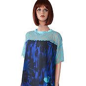 Одежда handmade. Livemaster - original item Blue light summer dress made of viscose staple and lace. Handmade.