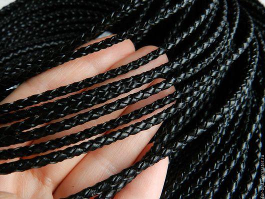 Шнур кожаный плетеный, цвет черный, толщина 3 мм (арт. 1922)