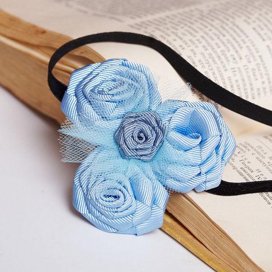 """Детская бижутерия ручной работы. Ярмарка Мастеров - ручная работа. Купить """"Голубые розы"""" повязка на голову с розами из лент. Handmade."""