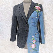 Одежда handmade. Livemaster - original item Combined women`s jacket made of wool and jeans Embroidered boho jacket. Handmade.