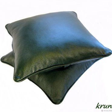 Для дома и интерьера ручной работы. Ярмарка Мастеров - ручная работа Кожаные интерьерные подушки. Handmade.