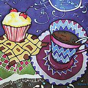 """Аксессуары ручной работы. Ярмарка Мастеров - ручная работа Батик шарф """"Кофе в ноябре"""".. Handmade."""