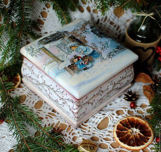 """Шкатулки ручной работы. Ярмарка Мастеров - ручная работа. Купить Шкатулочка """"Зима в Лисьем Лесу"""". Handmade. Шкатулка, подарок на новый год"""