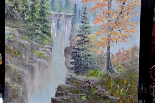 """Пейзаж ручной работы. Ярмарка Мастеров - ручная работа. Купить Картина маслом """"Водопад"""". Handmade. Зеленый, природа, картина в подарок"""