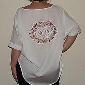 Одежда ручной работы. Ярмарка Мастеров - ручная работа Блузка ассиметрия с ажурной спинкой. Handmade.
