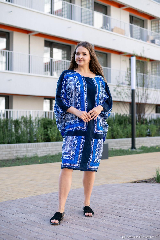 Платье-туника  оверсайз из вискозы синее, Платья, Новосибирск,  Фото №1