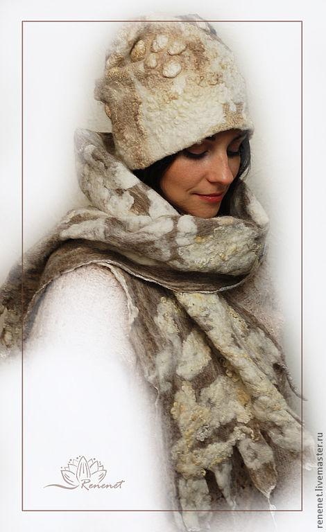 """Валяные шапка и шарф """"Дикий бохо"""" из коллекции """"Две сестры"""", Шапки, Смоленск,  Фото №1"""