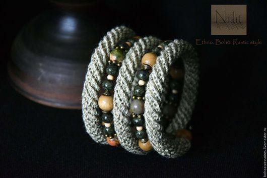 браслет льняной, льняной браслет, льняное украшение, вязаный жгут, натуральные материалы, натуральные цвета, широкий браслет, браслет бохо, бохо браслет, бохо стиль, бохо украшение, этно, крючком