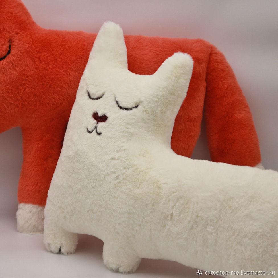 Сонный кот, интерьерная мягкая игрушка-подушка, имитация меха кролика, Игрушки, Москва,  Фото №1