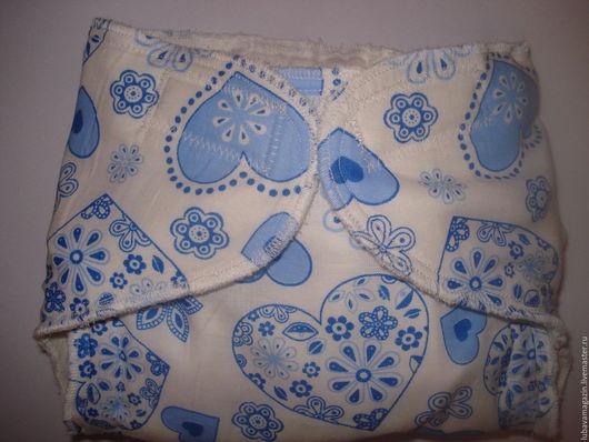 Одежда ручной работы. Ярмарка Мастеров - ручная работа. Купить Многоразовые памперсы для новорожденных(голубые сердечки). Handmade. Белый, для новорожденной, малышам