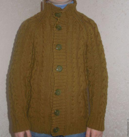 Для подростков, ручной работы. Ярмарка Мастеров - ручная работа. Купить Теплый  свитер для мальчика. Handmade. Хаки, теплый свитер