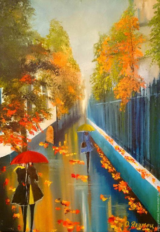 Город ручной работы. Ярмарка Мастеров - ручная работа. Купить Осенняя улица (50 х 35). Handmade. Комбинированный, осень