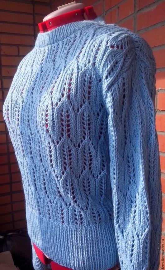 """Кофты и свитера ручной работы. Ярмарка Мастеров - ручная работа. Купить Пуловер """"Blues"""" голубого цвета. Handmade. Свитер, кофта"""