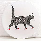 Для дома и интерьера ручной работы. Ярмарка Мастеров - ручная работа Тарелка настенная с подвесом Английский кот. Handmade.