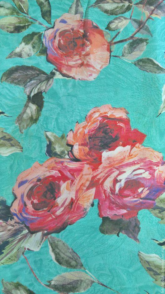 Шитье ручной работы. Ярмарка Мастеров - ручная работа. Купить Шелковый шифон D&G Розы на бирюзовом фоне. Handmade. Голубой