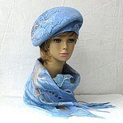 Аксессуары ручной работы. Ярмарка Мастеров - ручная работа Голубой песок  берет на ножке  и шарф валяный авторский. Handmade.