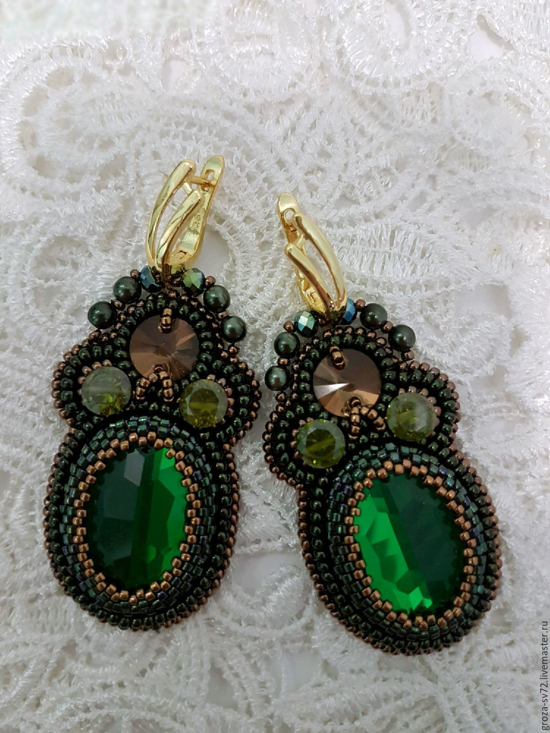 Earrings are embroidered with beads ' the fragrance of the forest', Earrings, Moscow,  Фото №1
