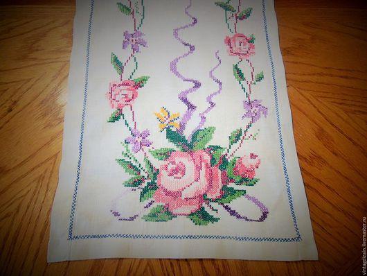 Винтажные предметы интерьера. Ярмарка Мастеров - ручная работа. Купить ВЫШИВКА  накомодник розы. Handmade. Вышивка, винтаж, бохо стиль