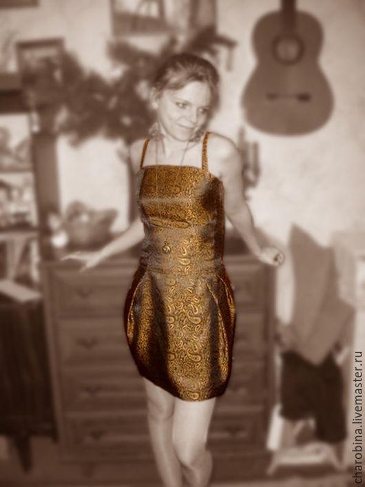 """Платья ручной работы. Ярмарка Мастеров - ручная работа. Купить Платье """"Озорное золото"""". Handmade. Комбинированный, пейсли, золотой, черный"""