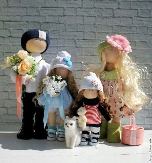 Куклы тыквоголовки ручной работы. Ярмарка Мастеров - ручная работа. Купить Семья. Портретные куколки.. Handmade. Подарок, текстильная кукла