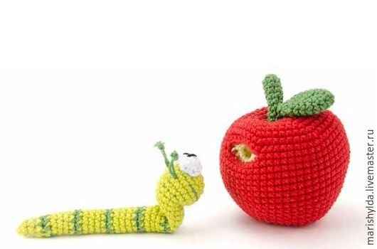 """Игрушки животные, ручной работы. Ярмарка Мастеров - ручная работа. Купить Мастер-класс """"Червячок в яблоке"""". Handmade."""