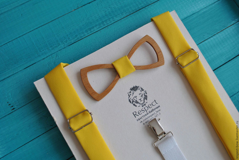 Деревянная бабочка галстук + ярко желтые однотонные подтяжки, Галстуки, Москва, Фото №1