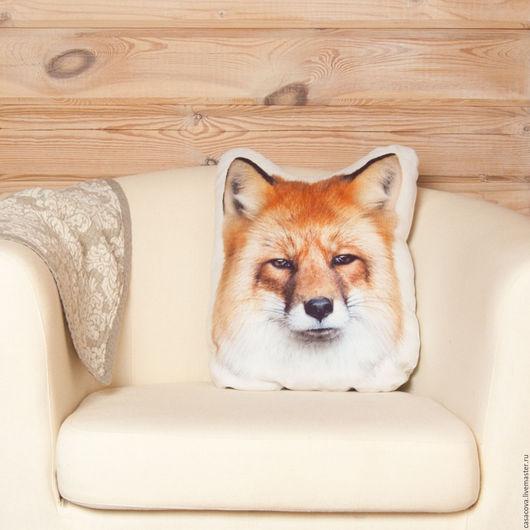 Персональные подарки ручной работы. Ярмарка Мастеров - ручная работа. Купить Подушка Лис – подушка декоративная, интерьерная, эко, льняная. Handmade.