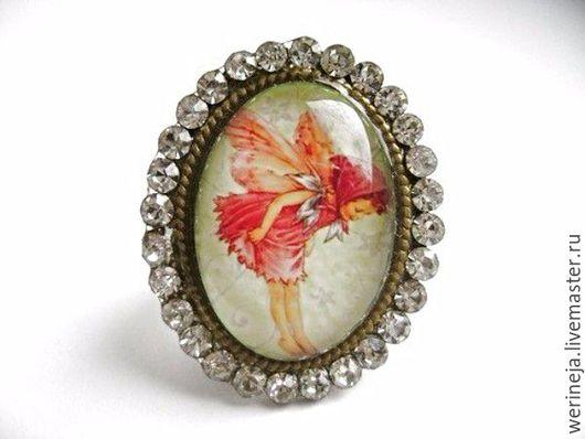 """Кольца ручной работы. Ярмарка Мастеров - ручная работа. Купить Крупное кольцо с изображением """"Фея"""". Handmade. Комбинированный, кольцо с изображением"""