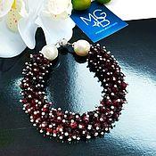Украшения handmade. Livemaster - original item Garnet bracelet with natural pearls. Handmade.