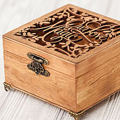 Свадебный салон handmade. Livemaster - original item Jewelry box for rings carved brown