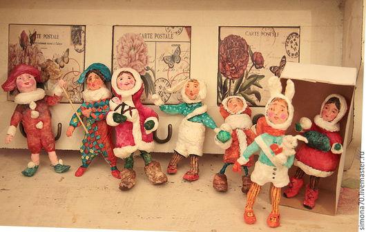 Коллекционные куклы ручной работы. Ярмарка Мастеров - ручная работа. Купить проданы. Ватные игрушки (винтажный стиль) цена за 7 штук. Handmade.