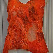 Одежда ручной работы. Ярмарка Мастеров - ручная работа Топ валянный Оранжевый. Handmade.