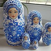 "Русский стиль handmade. Livemaster - original item Matryoshka ""Gzhel"" 5 seats. Handmade."