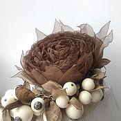 Украшения handmade. Livemaster - original item Brooch hair clip with fabric flower. Brown rose. Handmade.