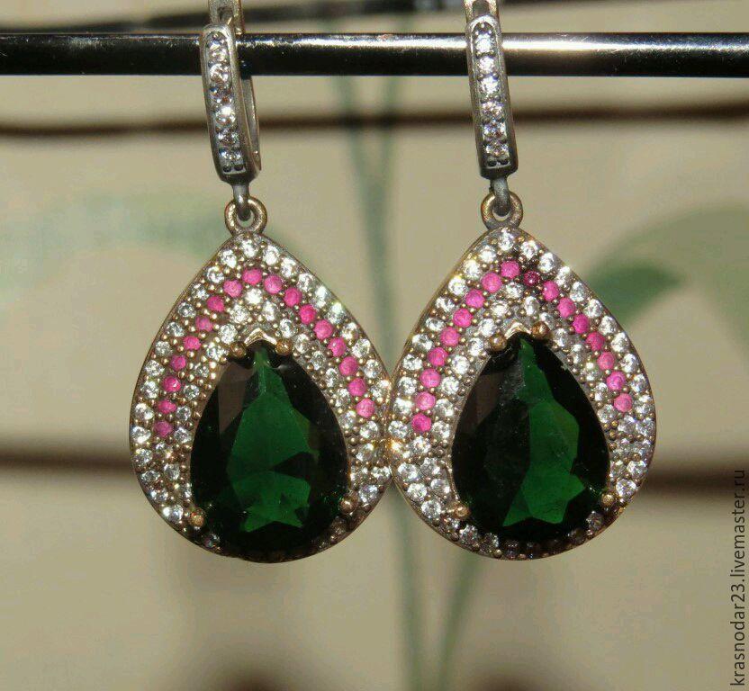 Luxurious earrings made of silver 925 with quartz, rubies, zircons, Earrings, Krasnodar,  Фото №1