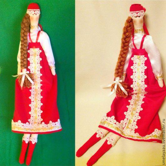 Куклы Тильды ручной работы. Ярмарка Мастеров - ручная работа. Купить Тильда в русско-народном костюме. Handmade. Ярко-красный