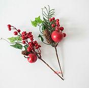 Материалы для творчества ручной работы. Ярмарка Мастеров - ручная работа Ветки с яблочками и ягодками. Handmade.