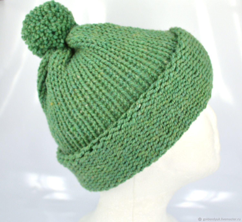 Вязаная шапка с помпоном, шапка из полушерсти