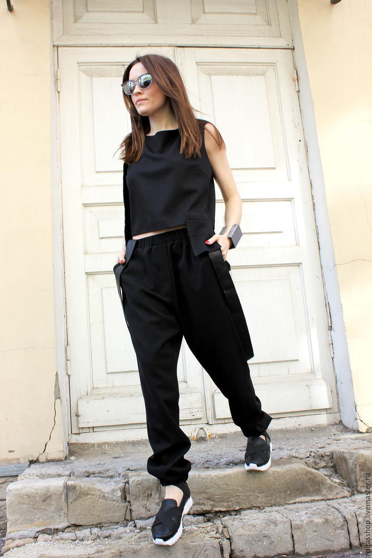 1415c99cfdeaf1 R0041B Брюки черные, модные . Дизайнерские брюки свободные, стильные брюки  из костюмной шерсти .