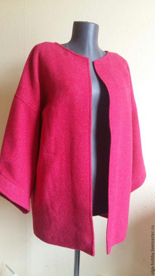 Верхняя одежда ручной работы. Ярмарка Мастеров - ручная работа. Купить Жакет или укороченное пальто. Handmade. Фуксия, пальто