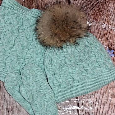 Works for children handmade. Livemaster - original item Knitted winter set mint color. Handmade.