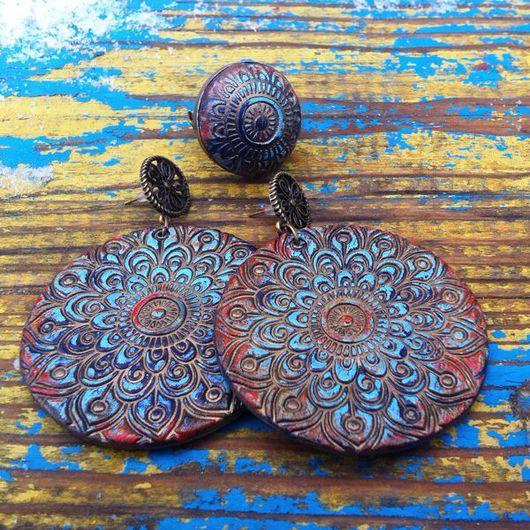 Серьги ручной работы. Ярмарка Мастеров - ручная работа. Купить Серьги  и кольцо из полимерной глины MEDINA. Handmade. Бирюзовый