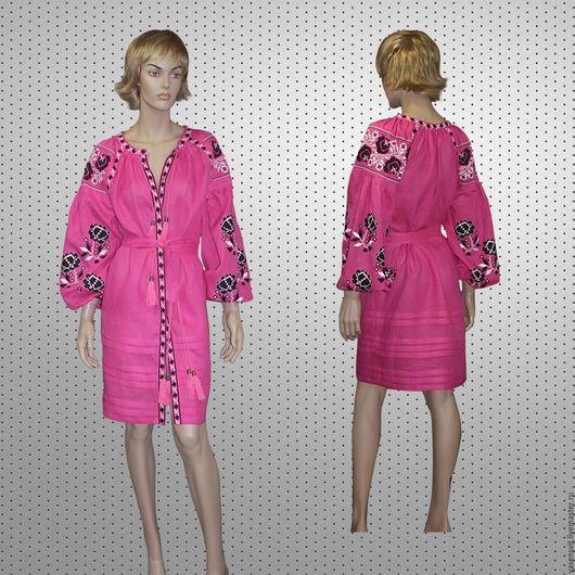 Платья ручной работы. Ярмарка Мастеров - ручная работа. Купить Размер M Льняное вышитое мини платье. Handmade. Бирюзовый