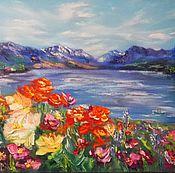 Картины и панно handmade. Livemaster - original item Painting flowers, sea, mountains, landscape 40/50