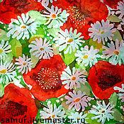 Аксессуары handmade. Livemaster - original item scarf batik silk chiffon daisies and poppies. Handmade.