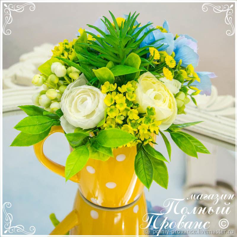 Цветочная композиция Горошек в желтой чашке, Композиции, Астрахань, Фото №1