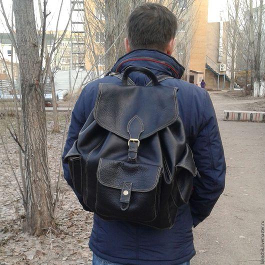 Мужские сумки ручной работы. Ярмарка Мастеров - ручная работа. Купить Рюкзак мужской. Handmade. Черный, рюкзак кожаный, рюкзак