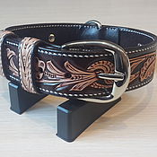 Для домашних животных, handmade. Livemaster - original item Personalized dog collar made of genuine leather. Handmade.