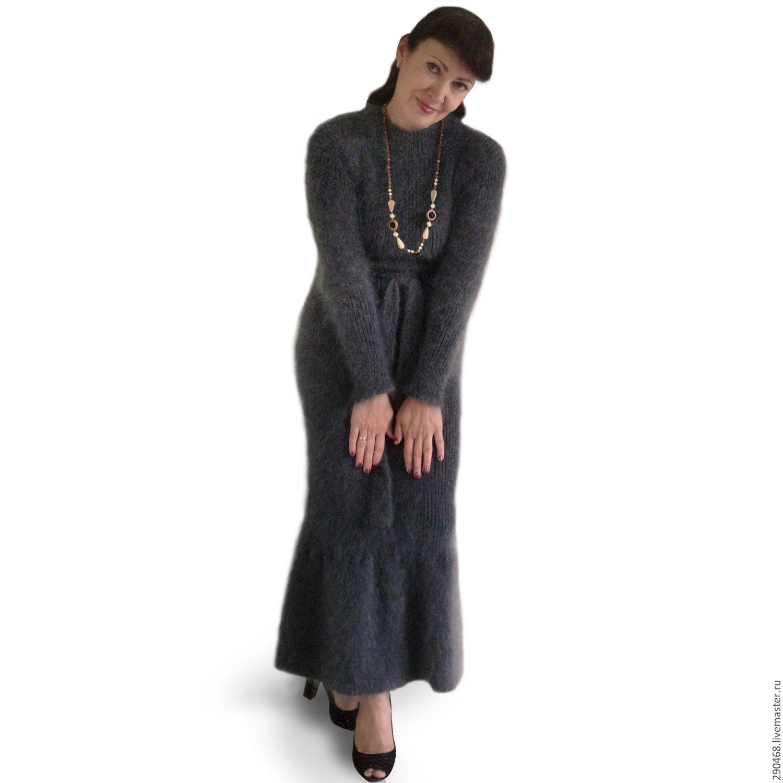 Платья ручной работы. Ярмарка Мастеров - ручная работа. Купить Платье вязаное пуховое Силуэт. Handmade. Серый